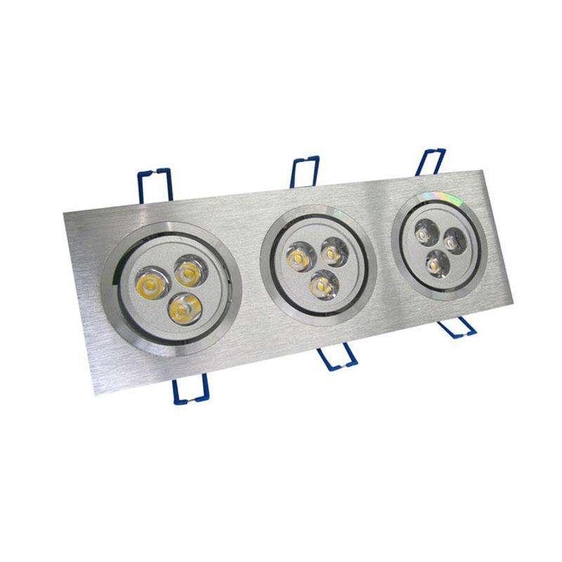 Spot rectangular x3 focos silver basculante LED 9W